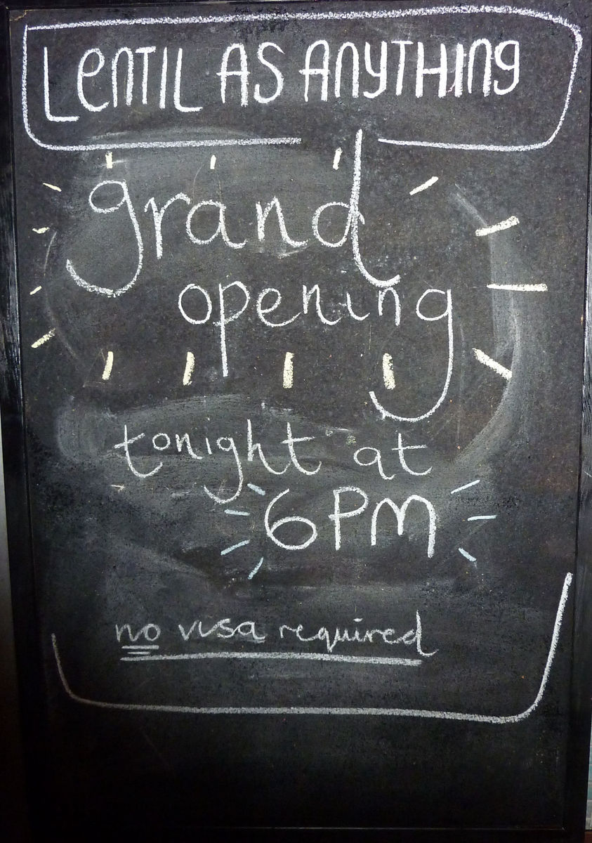 Lentil as Anything Opening night chalk board